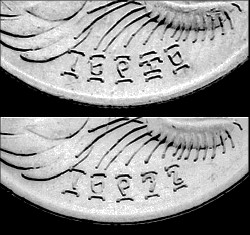Ethiopia - The date on the EE1969 second variety 50 Cents (top) and the date on the EE1996 50 Cents (bottom)