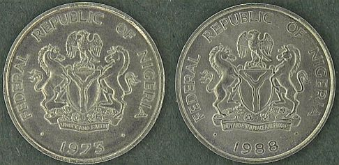 The two versions of Nigeria's coat of arms as seen on the 10 Kobo coins.