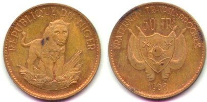 Niger 50 Francs 1968 - trial in Bronze