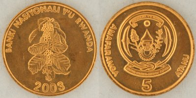 - 2 COINS from RWANDA 10 /& 50 FRANCS . BOTH DATING 2003 From Show Inv