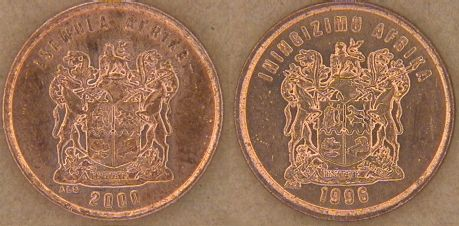 South Africa 2000 and 1996 1 Cent coins