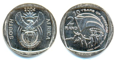 The circulating commemorative 2 Rand coin.