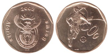South Africa 50 Cents 2002 Football circulating commemorative