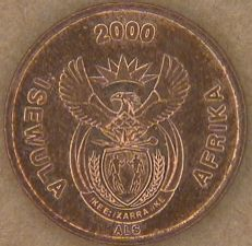 South Africa new coat of arms on 1 Cent 2000